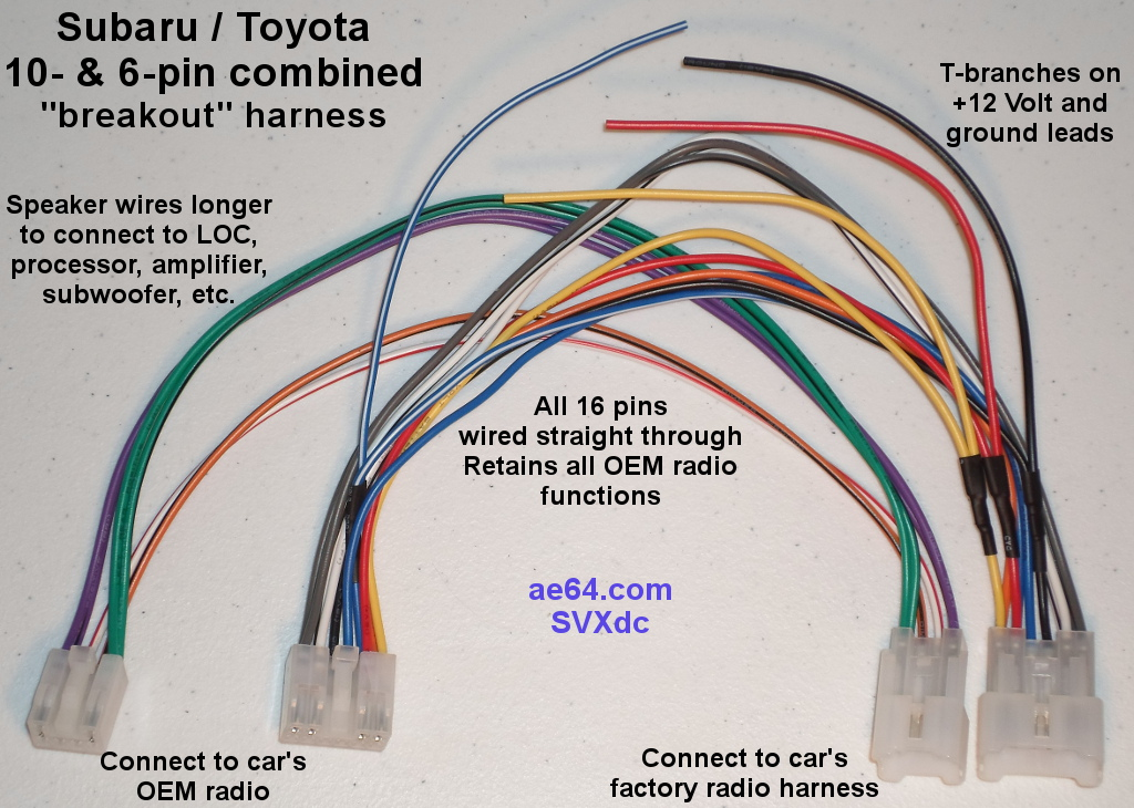 10 and 6 pin combined wiring harness for subaru impreza forester click to see larger image