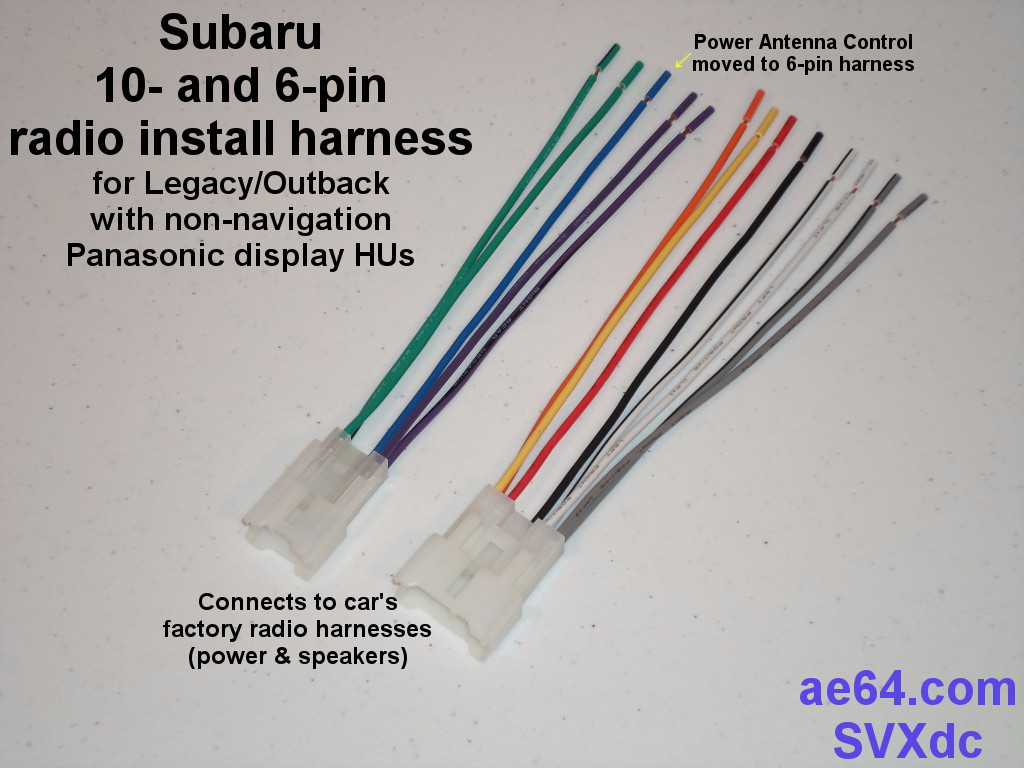 Picture of Subaru 10- & 6-pin harness with antenna lead on 6-