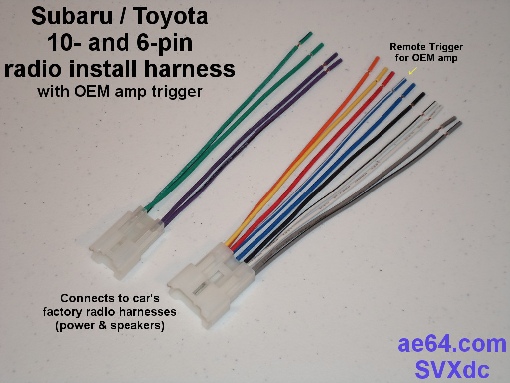 Toyota Wiring Harness Parts Library Car Audio Supplies Picture Of Subaru 10 6 Pin With Amp Remote Trigger Radio