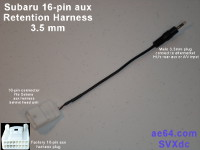 Picture of Subaru 16-pin aux retention harness with 3.5mm plug