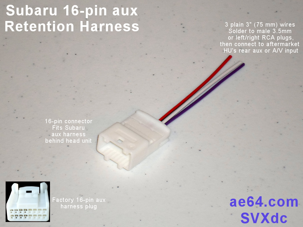 16 pin_aux_adapter_3w 16 pin aux retention harness for subaru impreza, forester, legacy subaru wiring harness problem at bakdesigns.co