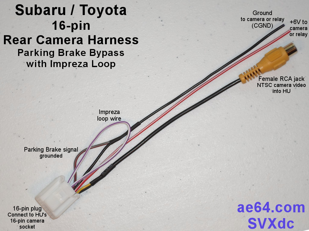 Subaru 16-pin rear camera harness with parking brake pass-thru ...