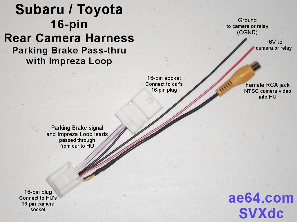 ... Subaru 16-pin rear camera harness with parking brake pass-thru