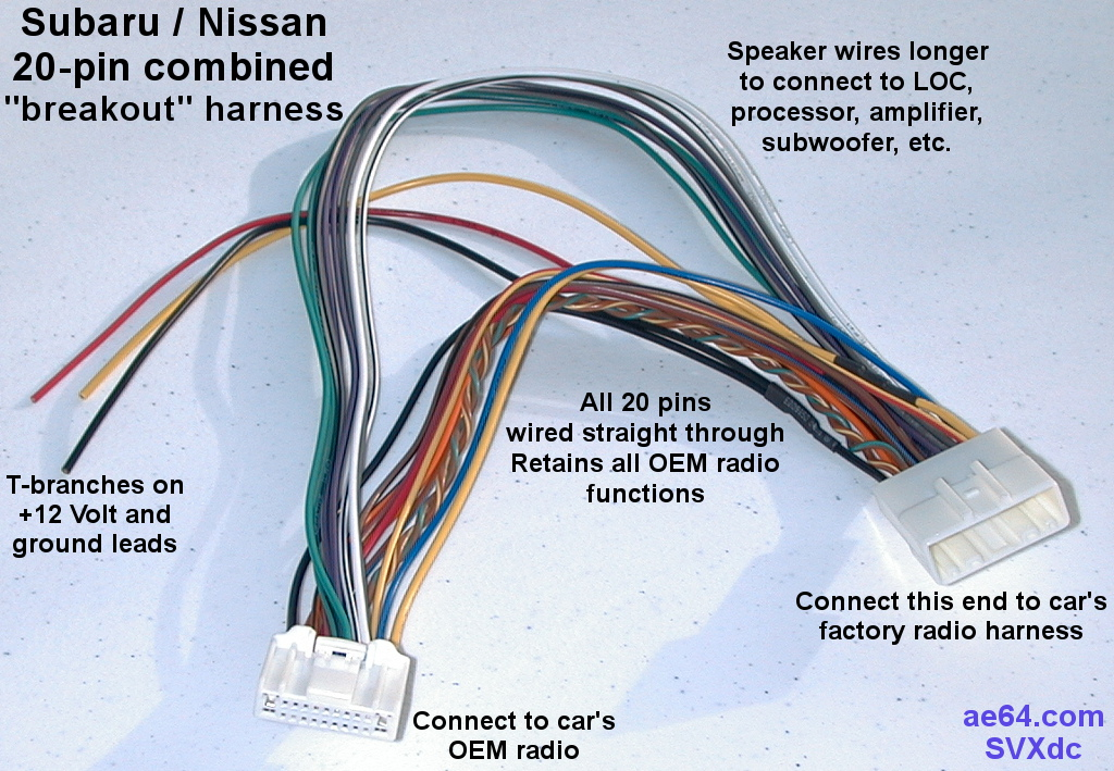 20 pin combined wiring harness for subaru impreza forester rh ae64 com what is wiring harness connectors what is wiring harness connectors