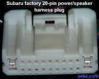 Subaru 20-pin factory radio harness plug