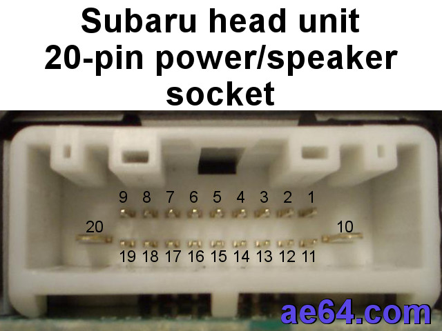 subaru 20-pin factory radio socket wtih pin numbers