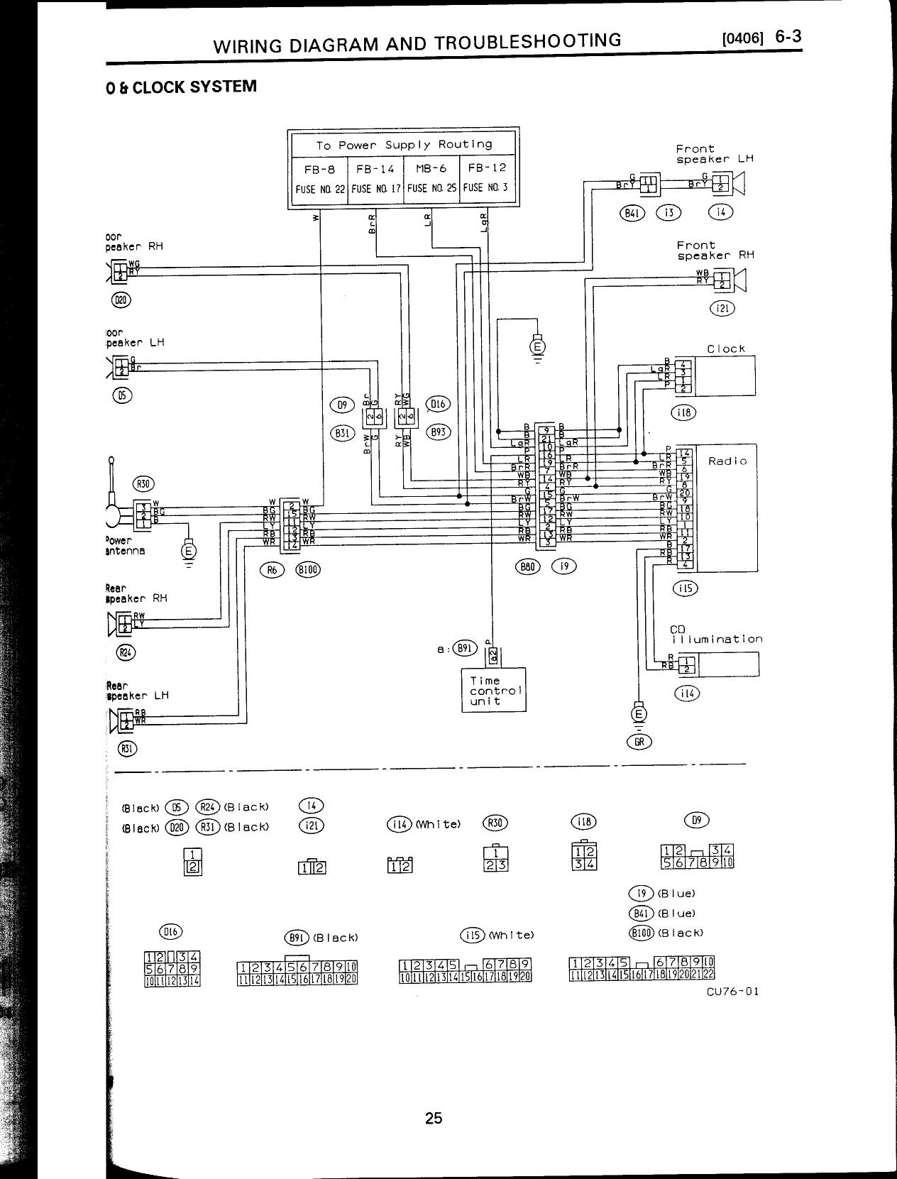 251 j SVXRadioWrg subaru legacy wiring diagram radio wiring diagram and schematic Subaru Legacy Wiring-Diagram Regulator at fashall.co